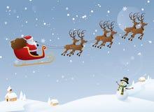 Jultomten resor royaltyfri illustrationer