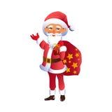 Jultomten rymmer på skuldrapåse med gåvor för jul Royaltyfri Bild