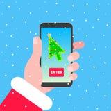 Jultomten rymmer telefonen med pilen för pekaren för markören för julträdet på skärmen royaltyfri illustrationer
