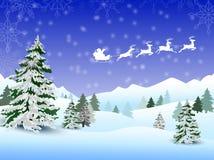 Jultomten släde som flyger över staden, och snö landar Royaltyfri Bild