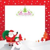 Jultomten, snögubbe, ram & bakgrund Royaltyfri Illustrationer