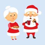 Jultomten som äter kakor royaltyfri illustrationer