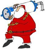 Jultomten som bär en vattenvärmeapparat Fotografering för Bildbyråer