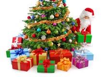 Jultomten som förbereder gåvorna Arkivbild