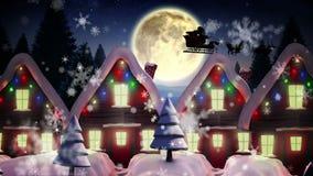 Jultomten som flyger över gullig snöig by