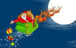 Jultomten som flyger i pulka Royaltyfri Fotografi