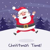 Jultomten som hoppar i snön Arkivbilder