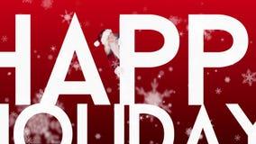 Jultomten som kikar runt om lyckliga ferier på festlig bakgrund stock video