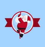Jultomten som klättrar i den runda logoen stock illustrationer