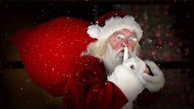 Jultomten som levererar gåvor med julmeddelandet arkivfilmer