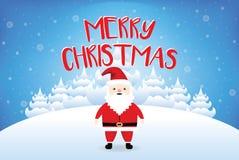 Jultomten som säger glad jul med snöfallvektorn Royaltyfria Bilder