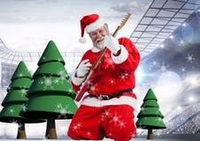 Jultomten som spelar den elektriska gitarren med julgranen 3D Arkivbild