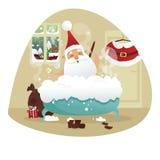 Jultomten som tar ett bad Fotografering för Bildbyråer