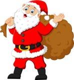 Jultomten som vinkar och rymmer säcken Arkivbild