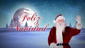 Jultomten som vinkar på kameran med feliznavidadmeddelandet stock video