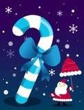 Jultomten under en stor pinne royaltyfri illustrationer