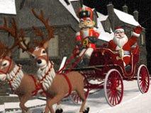 Jultomten vagn Arkivfoto