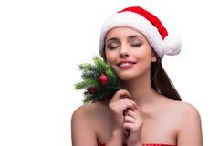 Jultomtenflicka i julbegrepp på vit Royaltyfria Foton