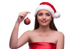 Jultomtenflicka i julbegrepp på vit Fotografering för Bildbyråer