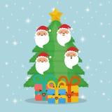 Jultomtengåvor och sörjer trädtecknade filmer av den Chistmas designen royaltyfri illustrationer
