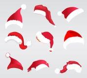 Jultomtenhattar vektor illustrationer
