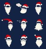 Jultomtenhattar, mustasch och skägg stock illustrationer
