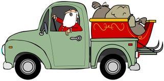 Jultomtenlastbilstransport hans släde Royaltyfri Foto