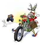Jultomtenmotorbiker i snö Royaltyfri Foto