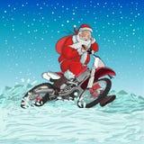 Jultomtenmotorcykel royaltyfri illustrationer