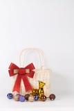Jultomtenpåse med garnering Arkivfoton