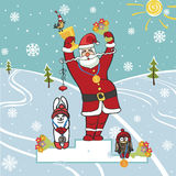 Jultomtenvinnare på podiet Humoristiska illustrationer Royaltyfri Foto