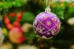 Jultoy på en förgrena sig Royaltyfri Fotografi
