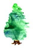 jultreevattenfärg royaltyfri illustrationer