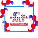 Julu 4 th dzień niepodległości Jednoczył stanu Ameryka tła vecto Obrazy Stock