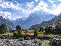 Julu village and Annapurna 3 in the clouds, Nepal Stock Photography