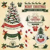 Juluppsättning av beståndsdelar för designvektor Royaltyfria Bilder