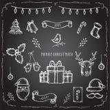 Juluppsättning av dekorativa beståndsdelar Royaltyfri Fotografi