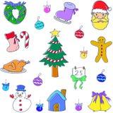 Juluppsättning av klottervektorn Royaltyfria Bilder