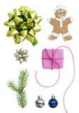 Juluppsättning med sju symboler Royaltyfria Bilder