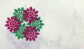Juluppsättning med snöflingor Arkivfoton
