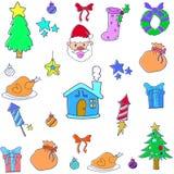 Juluppsättningobjekt av klotter Royaltyfri Fotografi