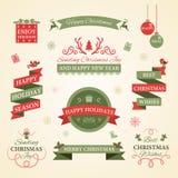 Juluppsättning av emblem, etiketter och andra dekorativa beståndsdelar Royaltyfria Foton