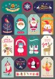 Juluppsättning av etiketter och klistermärkear Royaltyfri Bild