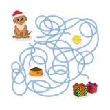 Julväglek Hjälp valpen att passera labyrinten Dog i jultomtenhatt i labyrint Symbol av det 2018 nya året Royaltyfria Foton