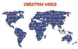 Julvärldskarta med garneringar Royaltyfria Bilder