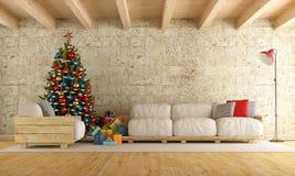 Julvardagsrum stock illustrationer