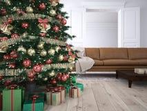 Julvardagsrum framförande 3d royaltyfri foto