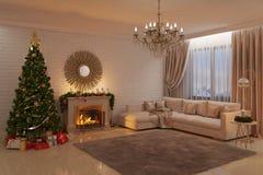Julvardagsrum med spisen, trädet och gåvor Arkivbild