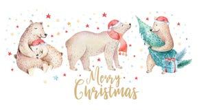 Julvattenfärgbjörn Den gulliga ungexmas-skogen uthärdar den djura illustrationen, kortet för nytt år eller affischen Hand dragen  vektor illustrationer