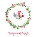 Julvattenfärgkort med fågeln och grankransen Xmas-garnering med lantlig design royaltyfri illustrationer